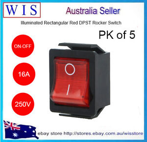 ARCOLECTRIC Rocker Switch C1353VQ,Off-On, DPST, Illuminated,Panel Mount,16A,250V