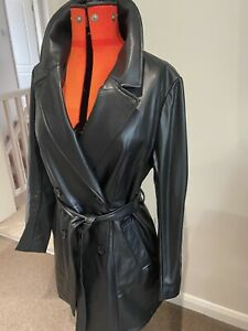 H&M Vegan Leather Trench Coat.. New.. Sz L 14-16.. Sexy Sassy Mac