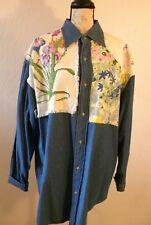 Denim Shirt Mens Large Blue Patches Embroidery Floral by Tita Sterling Legacy
