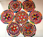 SET OF 7 VINTAGE MIRROR WORK EMBROIDERED ROUND FLOOR CUSHION COVER TAPESTRY