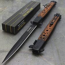 "12.5"" STILETTO WOOD TAC FORCE SPRING ASSISTED TACTICAL FOLDING KNIFE Blade"