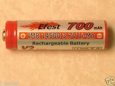 1 EFEST IMR 14500 LiMn 700maH HIGH DRAIN Rechargeable Battery 3.7V -BUTTON TOP