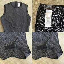 GIANNI VERSACE COUTURE silk polka dot bodysuit Italian size 44 from 1994