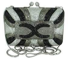 Black Silver Pewter Gray Crystal Clutch Purse Evening Bag w/ Swarovski Crystals