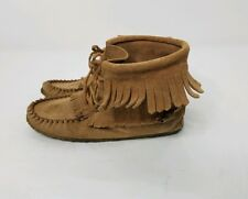 Laurentian Chief Canada Suede Fringe Moccasin Ankle Boot brown Camel Wmns Sz 8