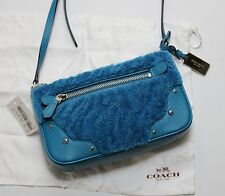 NWT Coach Shearling Small Rhyder Pochette Peacock Leather 36490 Crossbody Bag