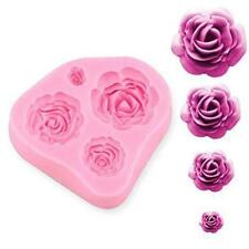 4 Rose Silicone Fondant Embossing Mold Mould Sugarcraft Baking Tools Cake DIY GD