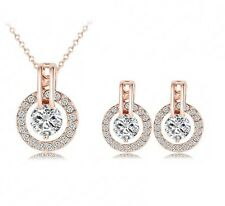Wedding Jewelry Set Bridal Jewellery Crystal Rhinestones Necklace Earrings Gold
