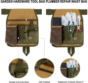 Garden Tool Belt Green Handy Cuttings Bag Sturdy Pockets Adjustable Apron UK