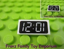 New LEGO White TILE 1x2 Black Digital Clock Face Smooth Flat Brick Piece Part