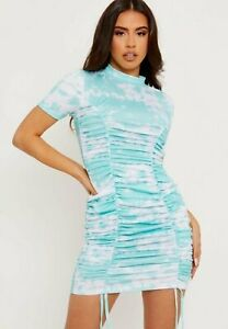 TIE-DYE RUCHED HIGH NECK DRESS - MINT