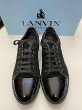 NWB- Lanvin Cap Toe Black Suede Low Top Sneakers Mens Size 9 US / 8 UK