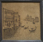 Tapestry Embroidery Picture Silk Fine Made ° Venice, Framed Antique Gondolas