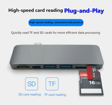6in1 2Port USB 3.0 Type-C Hub Adapter Hi-Speed TF/SD Card Reader for PC Laptop I