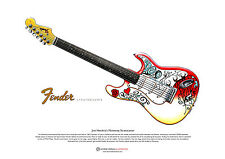 Jimi Hendrix's Fender Stratocaster ART POSTER  as used at Monterey A3 size