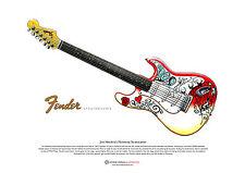 JIMI HENDRIX's fender stratocaster art Affiche COMME à Monterey A3 taille