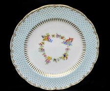 Antique Mintons Porcelain Plate Jeweled Aqua Dotted Rim Gold Gilt, Flowers 1908
