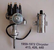 CHRYSLER 413-426-440 BLACK Ready-To-Run Small Cap HEI Distributor + Chrome Coil