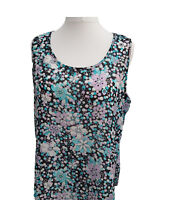 Womens Plus Sizes Tunic Sleeveless Tops Ditsy Floral Print Sizes 18/20 to 34/36