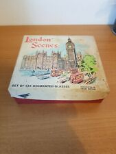 Six Vintage Shot Glasses with Assorted London Scenes in Box rare