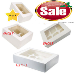 Windowed CupCake Boxes for 1, 2, 4, 6 and 12 Hole CupCakes With Removable Trays