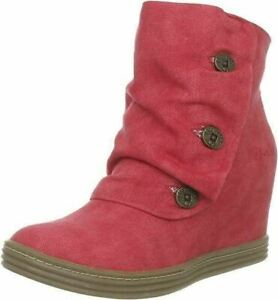 Blowfish Tabbit Red Suede Wedges UK 8 Women's Boots