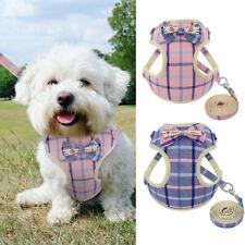 Mesh Padded Dog Harness & Leash Bowtie Walking Jacket Vest Adjustable Pink Blue