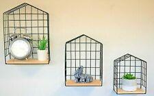 3x Metal House Shaped Wall Shelves Floating Display Units Hanging Retro Racks