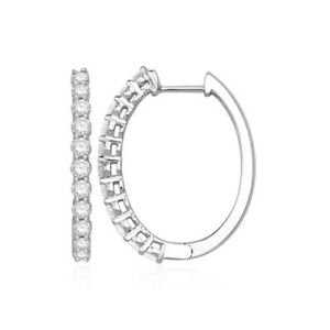 1.00 carats Simulated Oval Hoop Earrings 14K White Gold