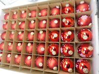 40 Weihnachts/ Christbaumkugeln 6 cm Glas-Kugeln Rot - matt / glänzend gem.