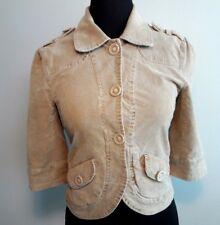 Sanctuary Cropped Jacket Women's Size Large Beige Corduroy Textured 3/4 Sleeve