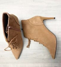 New M&S Suede Lace Up Stiletto Heels Ankle Boots Sz 8 Tan Leather  RRP £65