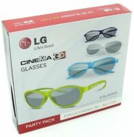 New LG AG-F315 PARTY PACK 4pcs for Cinema 3D Glasses Works on ANY TVwith PASSIVE