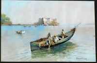 Ettore Gianni, listed Italian artist, b.1877 vintage gouache 12 x 18