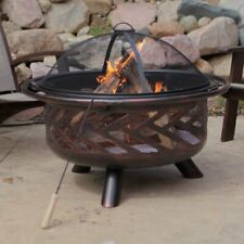 Fire Pit Wood Burning Deck Backyard Grill Grate Bronze Finish W Cover Outdoor