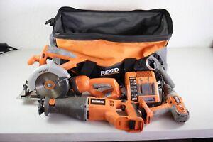 Ridgid 18V 6pc Tool Lot Reciprocating & Circular Saw Impact Drill + Charger +Bag