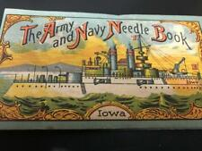 Antique Army & Navy Needle Book Uss Iowa battleship and Eagle vintage 1920s