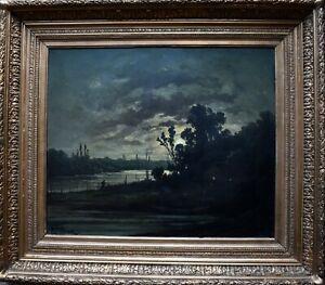 R T Stuart c1870 French Barbizon School Landscape Oil Painting