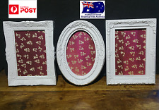 SET OF 3 SHABBY CHIC / FRENCH PROVINCIAL PHOTO FRAMES OVAL RECTANGLE  FRAME