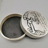 Collect tibet Silver copper great poet Li Bai Brush cartridge ink case round box