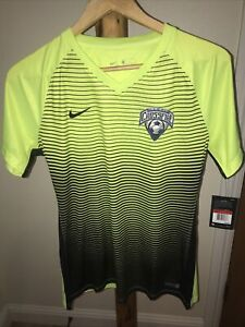 NWT Nike Dri Fit Women Soccer Shirt Jersey Large Clovis Crossfire #2 Yellow NEW