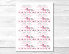 Pink and Gray Polka Dot Elephant Printable Baby Shower Diaper Raffle Tickets