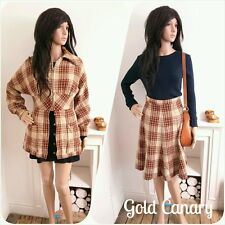 Vintage 70s carreaux marron laine 2 pièce veste une ligne jupe mod 8 36