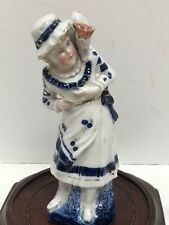 Antique Beautiful Victorian Porcelain Girl And Cat Figurine
