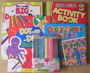 Dot to Dot - Super Jumbo Activity Book - Doodle Colouring - Colouring Pencils
