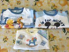 Lotto 3 pigiamini pigiama bimbo invernali Disney 12-18 mesi
