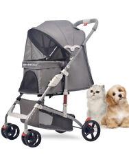 Becbelesy Pet Stroller,Three-Wheeled Dog Stroller, Foldable Shock-Absorbing