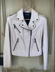 Vintage Tommy Hilfiger Ladies Leather Jacket Size 12 Light Pink