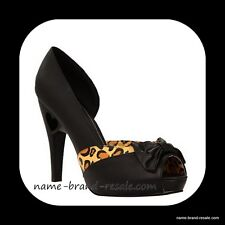 TUK TORRID Womens US 8 Black LEOPARD Bow PEEP TOE Heels Shoes ROCKABILLY Retro