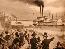 Engraving Civil War Pow Rebels At New Orleans Paddle Wheel Steamers Ships 1863